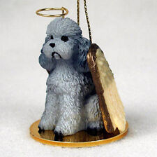 Poodle Ornament Angel Figurine Hand Painted Gray Sport Cut