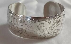 VINTAGE Etched Sterling Silver Cuff Bracelet signed WJR (Ronald J. Wyancko)