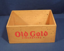 """Vintage Antique Gold Cigarettes Wooden Advertising Box Crate 5"""" Tall 11"""" x 8.5"""""""