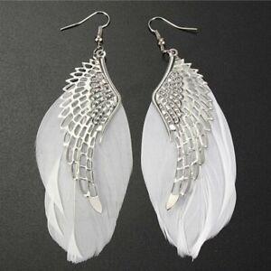 Fashion Womens Dangle Angel Wing Silver Boho Long Feather Hook Earrings Jewelry