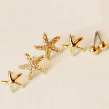 Chic 3 Pairs Starfish Shaped Rose Gold Stud Earrings Women Cute Jewelry Unique