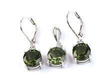 MOLDAVITE jewelry set pendant + earrrings SILVER.925 4g - AGPEND1341