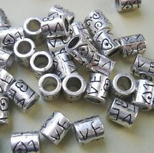 Tibetan Silver Bead Spacer Antique Silver Big Hole- 10pcs.