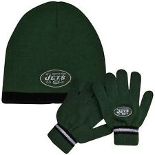 NEw nwt Reebok NFL New York JETS Knit beanie Hat & Gloves 3pc Set kids 8-20