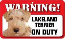 Lakeland Terrier Sign - Laminated Card -  Beware Of Dog 20cm x 12cm