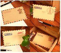 10 Pcs Vintage Envelopes Mini Retro Airmail Brown Kraft Paper - UK STORE