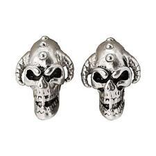 New 1 Pair (2pcs) Punk Unisex Skull Horns Spike Stainless Steel Ear Studs Silver