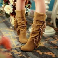 Ladies Womens Block High Heel Mid Calf Boot Tassel Boots Faux Suede Slouch Shoes