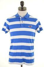 HOLLISTER Mens Polo Shirt Large Blue White Stripes Cotton