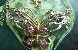VINTAGE 9ct GOLD BUTTERFLY PENDANT SET WITH RUBIES + DIAMONDS + CHAIN 37 x 24mm