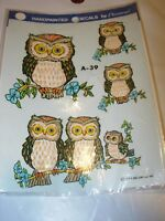 Vintage 1979 Hand Painted Decal Decorcal OWL OWLS FAMILY TOLE PAINTING TRANSFER