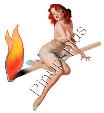 Rockabilly Pinup Girl with Flames Waterslide Decal Sticker S463