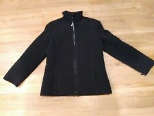 Gallery Womens Size Medium Jacket Coat Black Quilted Texture Front Pockets erc-e