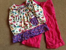 BNWT NEXT Pink Purple Floral Trousers & Long Sleeved Smock Top Set 9-12 Months