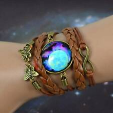 Infinity Butterfly Leather Bracelet Fashion Blue Galaxy Photo Glass Cabochon