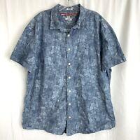 Tommy Hilfiger Shirt XXL Blue Floral Button Up Indigo Yarns Custom Hawaiian Camp