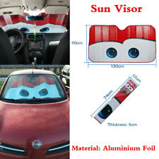 Red Big Eyes Foldable Aluminium Foil Car Window Windshield Sun Shade Visor Cover