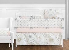 Sweet Jojo Pink Gold Celestial Moon Star Girls Baby Bedding Ruffle 9p Crib Set