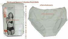 New Womens Marks & Spencer White Midis Knickers x 5 Size 22