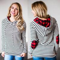 Womens Tops Casual Long Sleeve Striped Sweatshirt Loose Plaid Hoodies Pullover