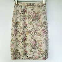Vintage Scott Mcclintock Cottagecore Pencil Skirt Womens 8 Floral Pink Rose USA
