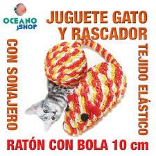 JUGUETE RASCADOR GATO RATON COLA BOLA TEJIDO ELASTICO SONAJERO 10 cm L123 3168