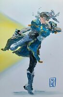 ORIGINAL Abstract Street Fighter Capcom Chun Li Palette Knife Painting Art 11x17
