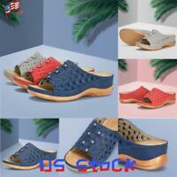 Women's Slip-on Sandals Open Toe Platform Openwork Wedge Shoes Beach Casual US