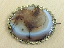 Agate Brooch Pin 1820 Antique Georgian Pinchbeck & Banded