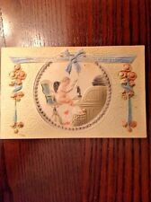 Antique Highly Embossed Valentine Postcard Office Cupid, Roll Top Desk