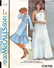 1970's VTG McCall's Misses' Dress and Jacket w/Transfer Pattern 6042 Size 14 UNC