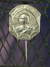 Art Nouveau french Lapel Badge Joan Of Arc Angelic Victory Htf Religious Medal