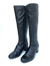 TOPSHOP BLACK LEATHER STUDDED KNEE HIGH BOOTS SIZE UK 3 UK 6 RRP £150