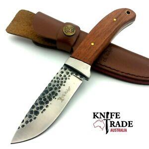 Elk Ridge Hunter ER-268 + Leather Sheath Hunting Skinning Bushcraft Camp Knife