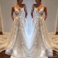 Boho Beach Lace Wedding Dresses Bridal Gowns With Deep V-Neck A Line Applique