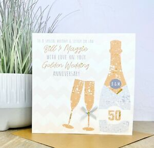 Personalised Handmade 50th/Golden Wedding Anniversary Card, Friends, Mum and Dad