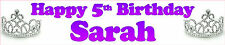 PERSONALISED BIRTHDAY TIARA BANNERS PACK OF TWO