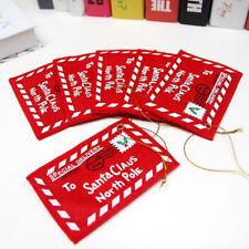 10pcs Christmas Santa Wish Letter Envelopes Red Felt Embroidered Key Tree Decor