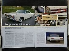 1967 Plymouth Fury III - 4 Page Article - Free Shipping