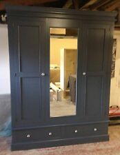 Painted Edwardian Triple Wardrobe with mirror over 2 drawers