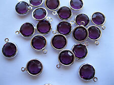 24 Swarovski channel set one loop drops 12mm Amethyst/Sterling plate.