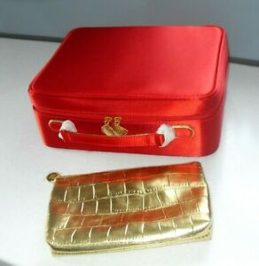 2 ESTEE LAUDER Bags 1 Large Red Zipped Vanity Case & 1 Gold Make Up Bag NEW