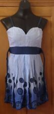 TFNC BLUE TONED FLORAL PATTERN STRAPPY SHORT LENGTH DRESS - SIZE 10
