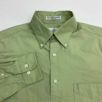 Enro Button Up Shirt Men's Size 15.5 Long Sleeve Green Pinpoint Cotton Blend