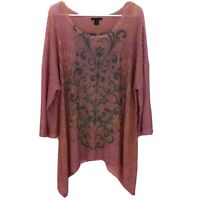 Westbound Woman Plus Size 2X Stretch Top Pink Paisley Open Knit 3/4 Sleeve