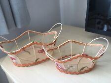 Decorative Vintage Retro Floral Metal Wire pair of baskets peach shades
