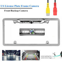 Chrome Car Front/Rear View Backup Camera Night Vision US License Plate Frame Cam