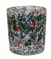 "4 Vintage Christmas Holly Texture Drink Glasses Snow Spots Specs Set 3 1/2"" Lot"
