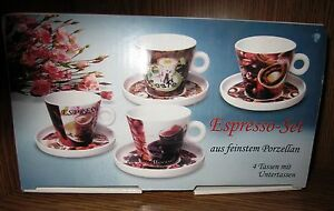 "Espressoset ""Motiv Kaffee"" feines Porzellan 8-tlg  Posten 18 Set's im Buntkarton"