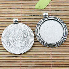 4pcs antiqued silver color round cabochon setting EF2547